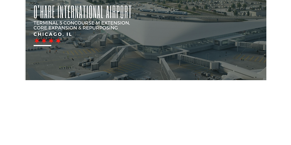 Exterior image rendering of O'Hare International Airport Terminal 5 in Chicago, Illinois