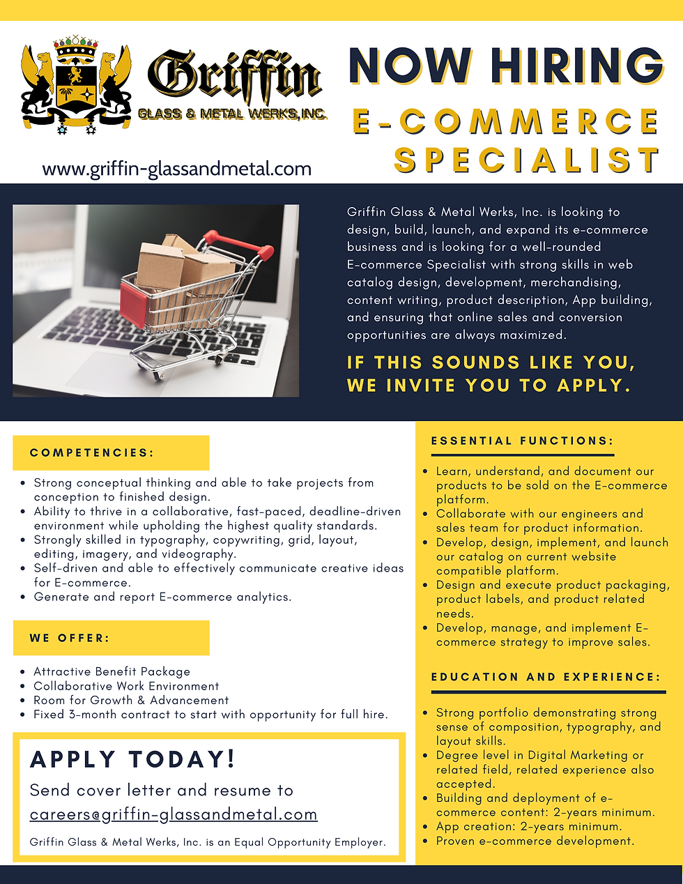 GRIFFIN Now Hiring E-commerce Specialist