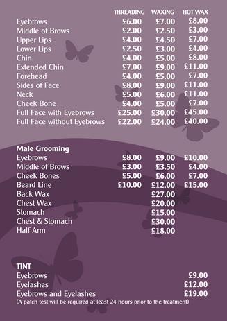 Woking Price List
