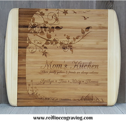 Mom's Kitchen- Large 2 Tone Bamboo Cutting Board - FamilyTree