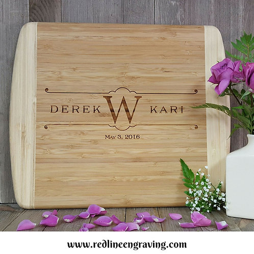 Bride & Groom - Large 2 Tone Bamboo Cutting Board Personalized