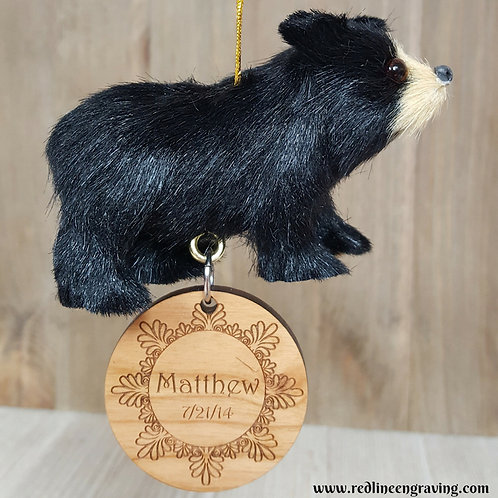 Custom Bear Christmas Ornament