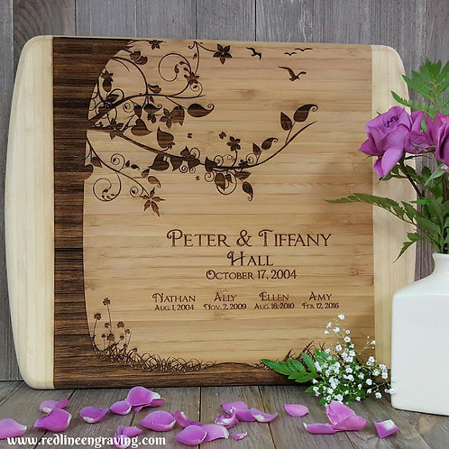 Family Tree- Wedding- Large 2 Tone Bamboo Cutting Board Personalized