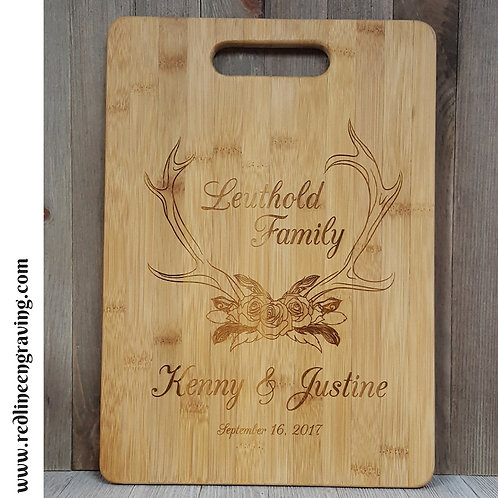 Horns and Flowers Wedding-Large Bamboo Cutting Board Personalized