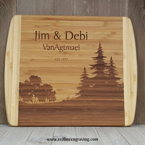 Forest-Large 2 Tone Bamboo Cutting Board Personalized