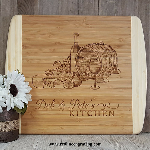 Wine & Cheese Large 2 Tone Bamboo Cutting Board Personalized