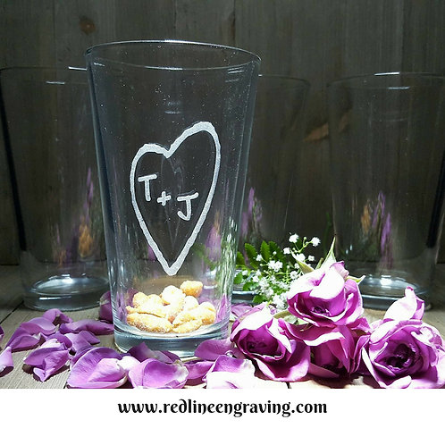 Set of 4 Pint Glasses-Tree Carved Heart
