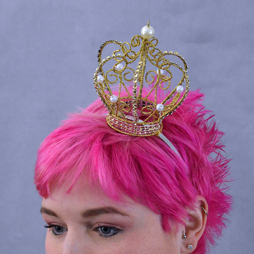 Gold Glitter and Pearl Crown Headband