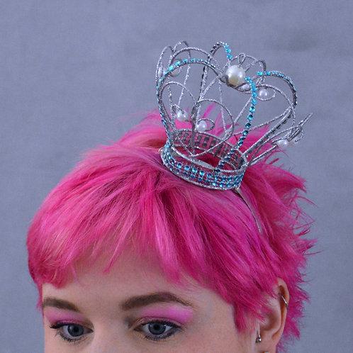 Silver Glitter Aqua and Pearl Crown
