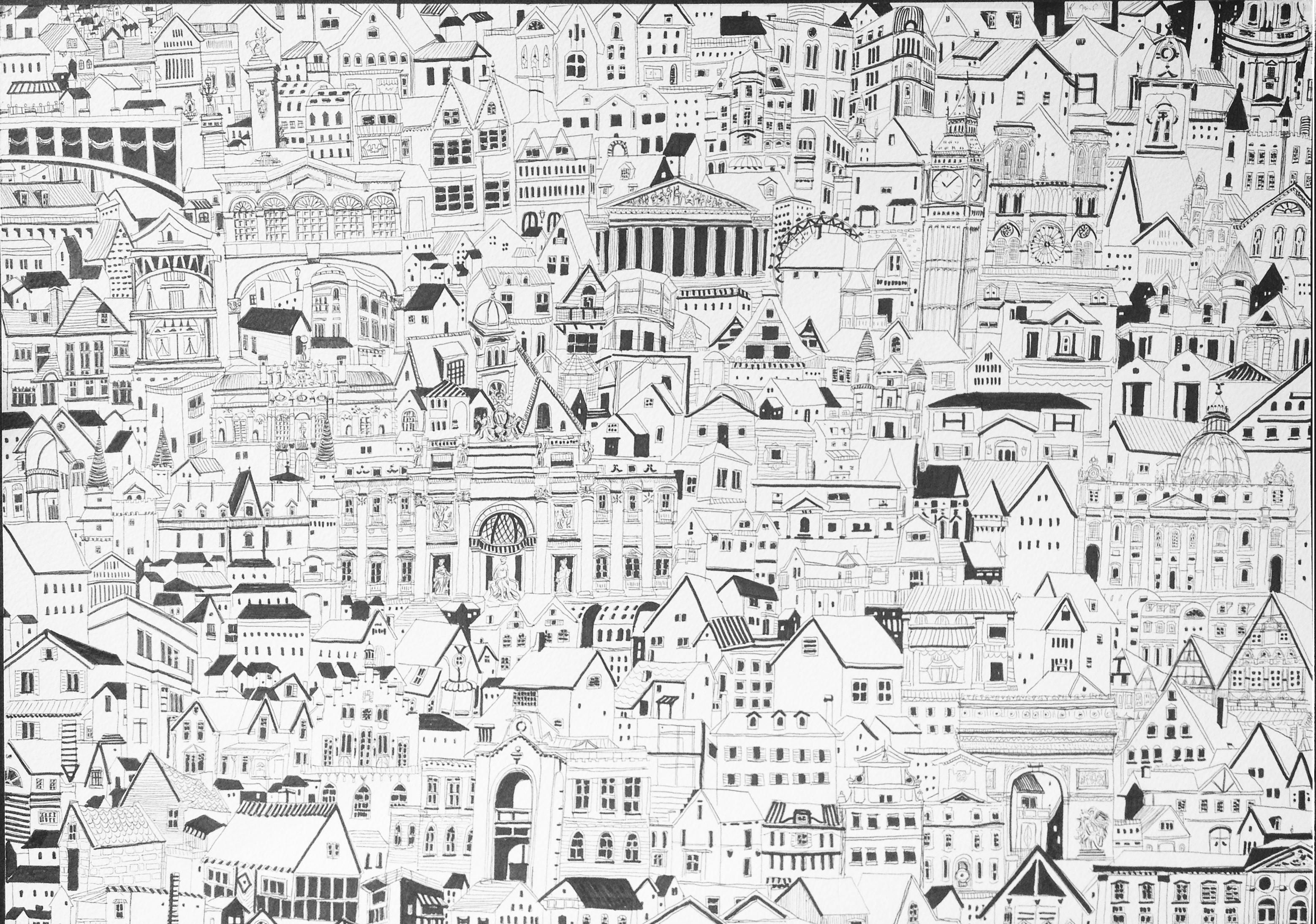 Diorama of European architecture