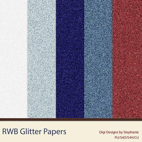 RWB-Glitter Paper Pack