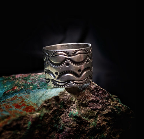 Hand Stamped Wide Band Ring