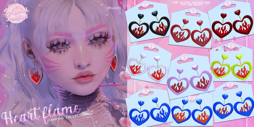 Mewsery - Heart Flame Earrings