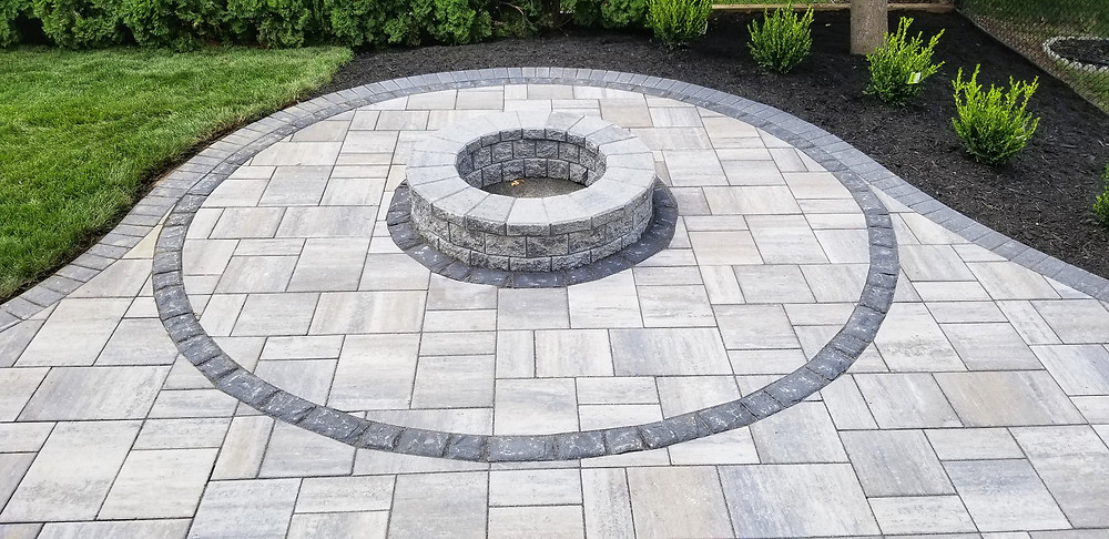 Brick Paver Patio With Built in Fire-Pit