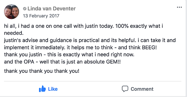 Facebook Testimonial Text Justin Furness Connectiv Leadership