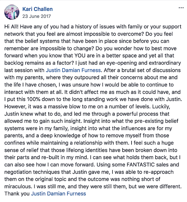 Facebook Testimonial Justin Furness Connectiv Leadership