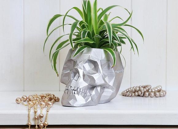 Zilver Skull Bloempot (17cm)
