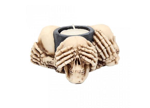 Three wise skulls tealight-holder (10cm)