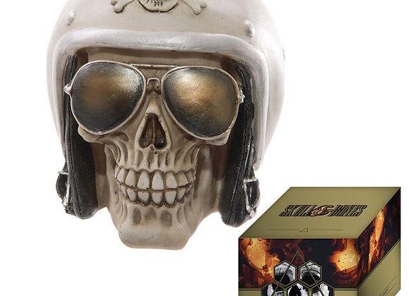 Biker Skull met witte helm (12 cm)