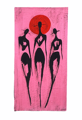"""""""Three Of Wands (Pink)"""" Canvas (12x24)"""