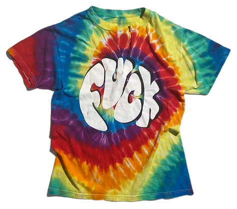S - Tie Dye Fuck Cut/Painted Worn T-Shirt