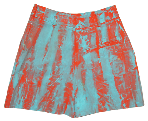 S - Orange Turquoise Painted Fabric Shorts