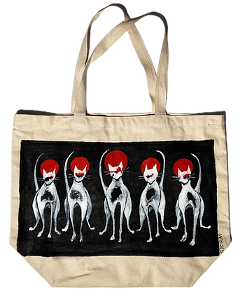 Cool Cat Line Up Painted Eco Canvas Bag