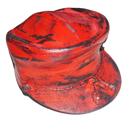 Painted Vintage Military Cap