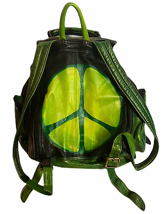 Metallic Green Cool People Peace Leather Backpack
