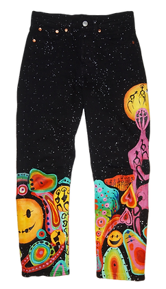 S/25 Short - Tripped Universe Painted Levi Jeans
