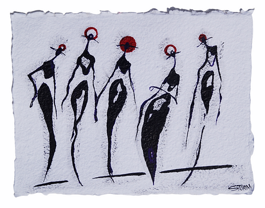 """""""Jazz Night - The Cool People"""" - Ink/Paint on cotton paper (9x12)"""