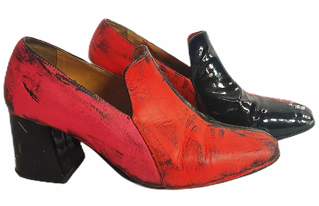 Victorian Mod Color Blocked Leather Shoes