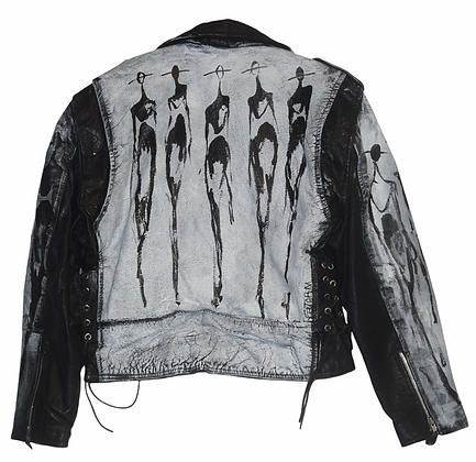 M - The Cool People (11.2020) Painted Vintage Leather Moto Jacket
