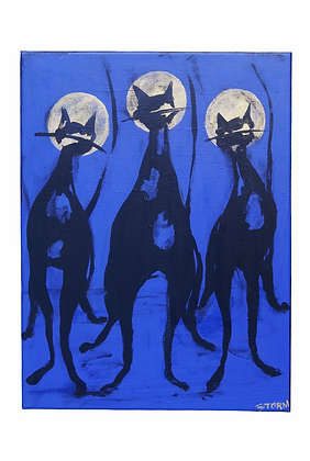 """The Cool Cats at Midnight"" - Acrylic on Canvas (12x16)"