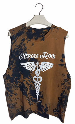 L - Heroes Rock Bleached & Cut Top