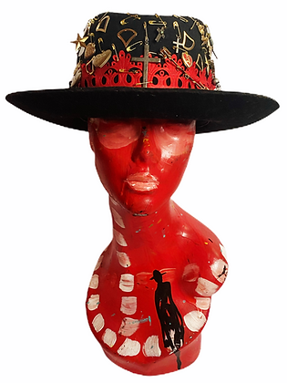 Pinned & Embellished Black Classic Hat