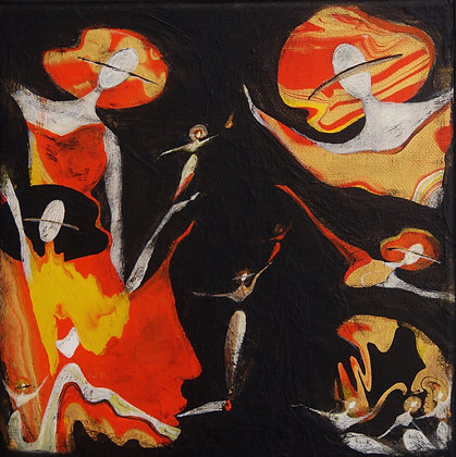 """Wild Marmalade"" Canvas Painting (8x8"")"