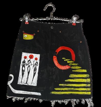 Moon River Painted Levi's Denim Skirt