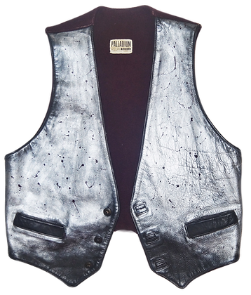 Silver Ombre Painted Leather Vintage Vest
