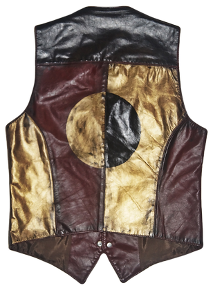 Golden Brown & Burgundy Painted Leather Vintage Vest