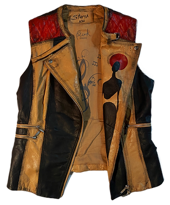 Minstrel Cool People Painted Vintage Leather Moto Vest