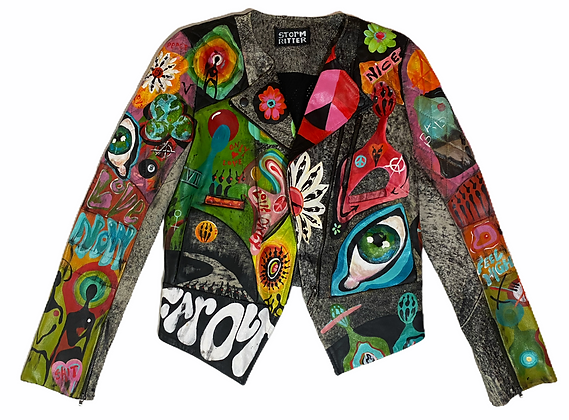 Rising Sun Painted Leather Jacket