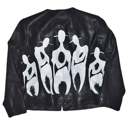 Classic Cool People Painted Vintage Leather Jacket