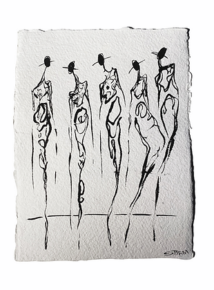 The Cool People (10.27.20) 2/6 - Ink on Handmade Paper (9x12)