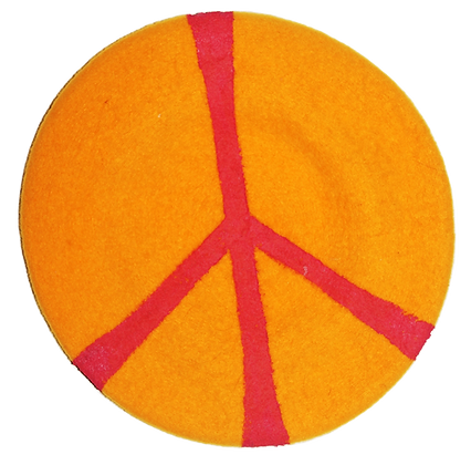 Peace Painted Pink/Orange Vintage Wool Beret