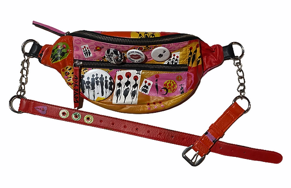 Pink Passion Painted Leather Fanny Pack