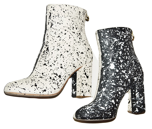 B/W Reverse Splatter Painted Leather Boots