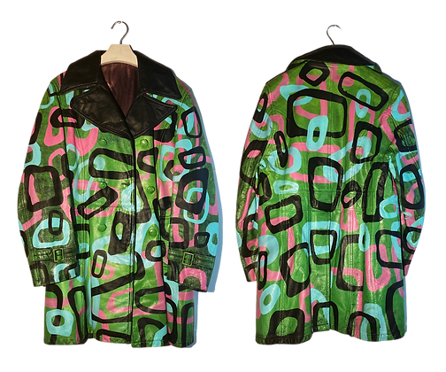 """""""TV Dinner"""" Painted Leather Trench Jacket"""