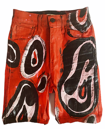 XS/24 - Red Polka Paint High Waisted Cut Off Jean Shorts