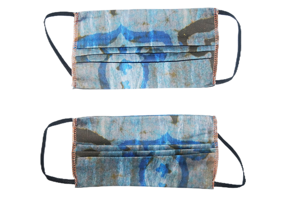Reversible Woven Mask - Blue Vintage Inspired